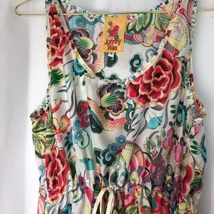 Johnny Was silk floral sleeveless tunic small